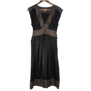 Black Geometric V Neck Sleeveless Dress
